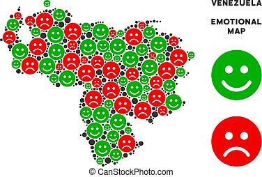 Vector Emotion Venezuela Map Composition of Smileys