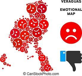 Vector Emotion Veraguas Province Map Composition of Sad Smileys