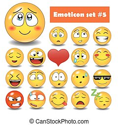 Vector emotional face icons
