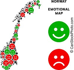 Vector Emotional Norway Map Collage of Emojis - Happiness...