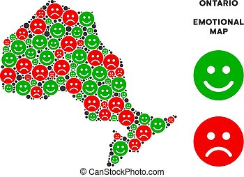 Vector Emotional Ontario Province Map Composition of Smileys...