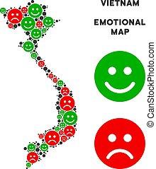 Vector Emotional Vietnam Map Composition of Emojis -...
