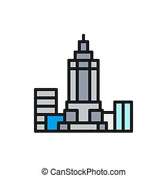 Vector Empire State Building, USA, landmark flat color line icon.