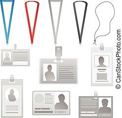 vector, empleado, tarjetas, colección, lanyards, con, diferente, colores, cintas