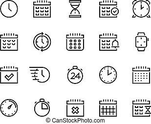 vector, empresa / negocio, alarma, objetivo, icons., horario...