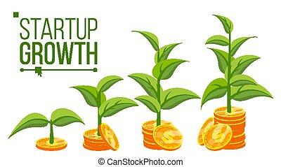 vector., empresa / negocio, monedas., crecer, crecimiento, company., árbol, pila, dinero, aislado, caricatura, éxito, plano, ilustración, concepto