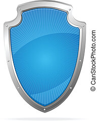 Vector Empty metal shield blue