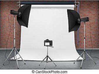 Vector empty photo studio with lighting equipment - Vector ...