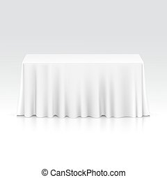 Vector Empty Rectangular Table with Tablecloth Isolated on...