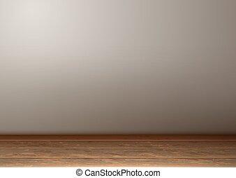 Vector empty room interior realistic wooden floor