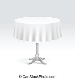 Vector Empty Round Table with Tablecloth Isolated on White...