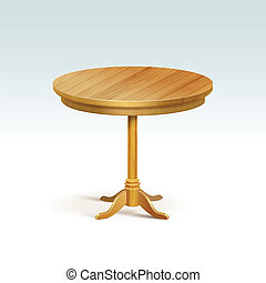 Vector Empty Round Wood Table