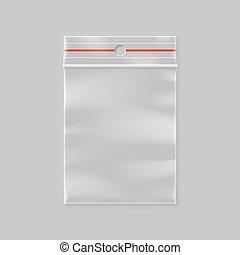 Vector empty transparent plastic zipper bag