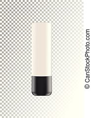 Vector empty white package with black lid for cosmetic products tube for cream, foundation. Realistic mockup of plastic container isolated on white-transparent background.
