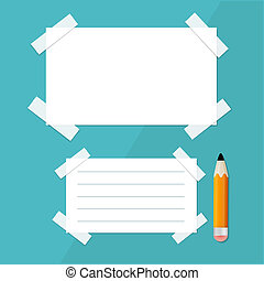 Vector Empty White Paper Sheet with Stickers and Pencil