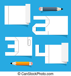 Vector Empty White Paper Sheet with Stickers and Pencils