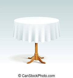 Vector Empty Wood Round Table with Tablecloth Isolated on...