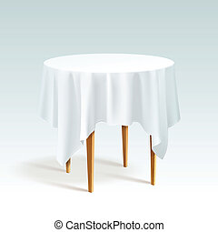 Vector Empty Wood Round Table with Tablecloth