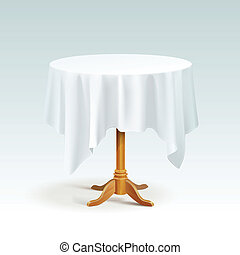 Vector Empty Wood Round Table with Tablecloth Isolated on White Background