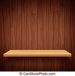 Vector empty wooden shelf background.Empty wood for your...