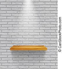 Vector empty wooden shelf isolated on gray brick wall...