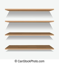Vector empty wooden shelf isolated on checkered background