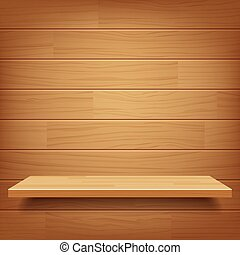 vector empty wooden shelf on wooden wall background