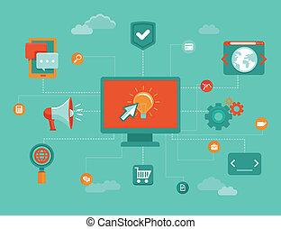 vector, en línea, concepto de la corporación mercantil