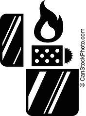vector, encendedor, icono