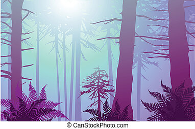 vector enchanted forest in cool colors. Lots of ferns in the...