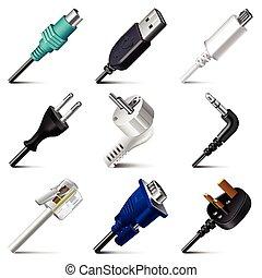 vector, enchufes, conjunto, cables, iconos