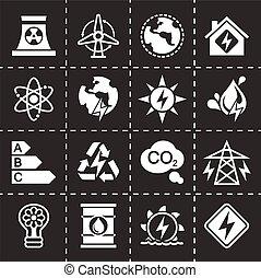 Vector Energetics icon set on black background