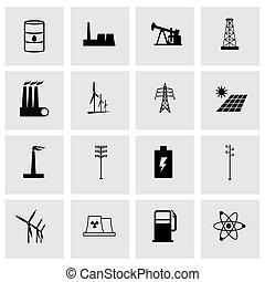 Vector energetics icon set on grey background