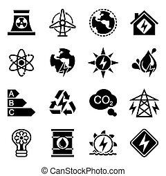 Vector Energetics icon set on white background