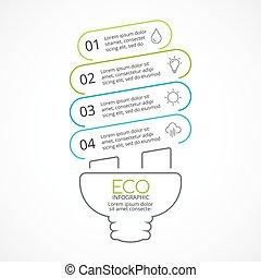 Vector energy efficient light bulb eco linear infographic. ...