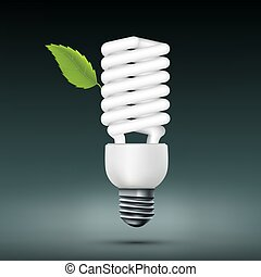 Vector energy saving lamp with green leaf