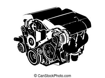 Vector engine - Vectro illustration of a engine on white...