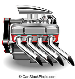 Vector illustration of the engine. Gradient mash.