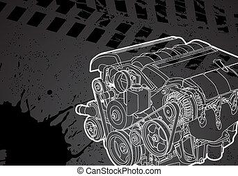 Vectro illustration of a engine on dark background