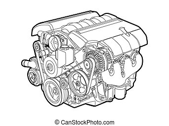 Vector engine - Vectro illustration of a engine on white ...
