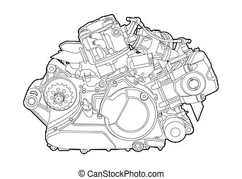Vector engine - Vectro illustration of a motorcycle engine ...