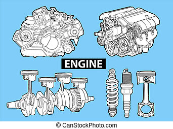 Vector engines - Vectro illustration of a engines on blue...