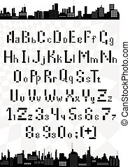 Vector English alphabet with letters and numbers of the horizontal and vertical boxes