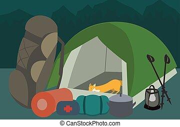 vector, engranaje, campamento, caricatura, excursionismo
