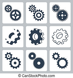 vector, engranajes, cogwheeels, iconos, conjunto