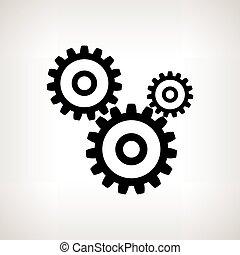 vector, engranajes, silueta, plano de fondo, luz, ilustración