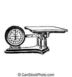 Vector engraved illustration of a weighing scale isolated on...