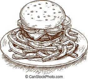 engraving illustration of hamburger - vector engraving...