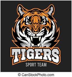 vector, enojado, tigre, cara, deporte, emblema