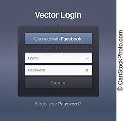 vector, entrada, contraseña, seguridad, tela, pantalla